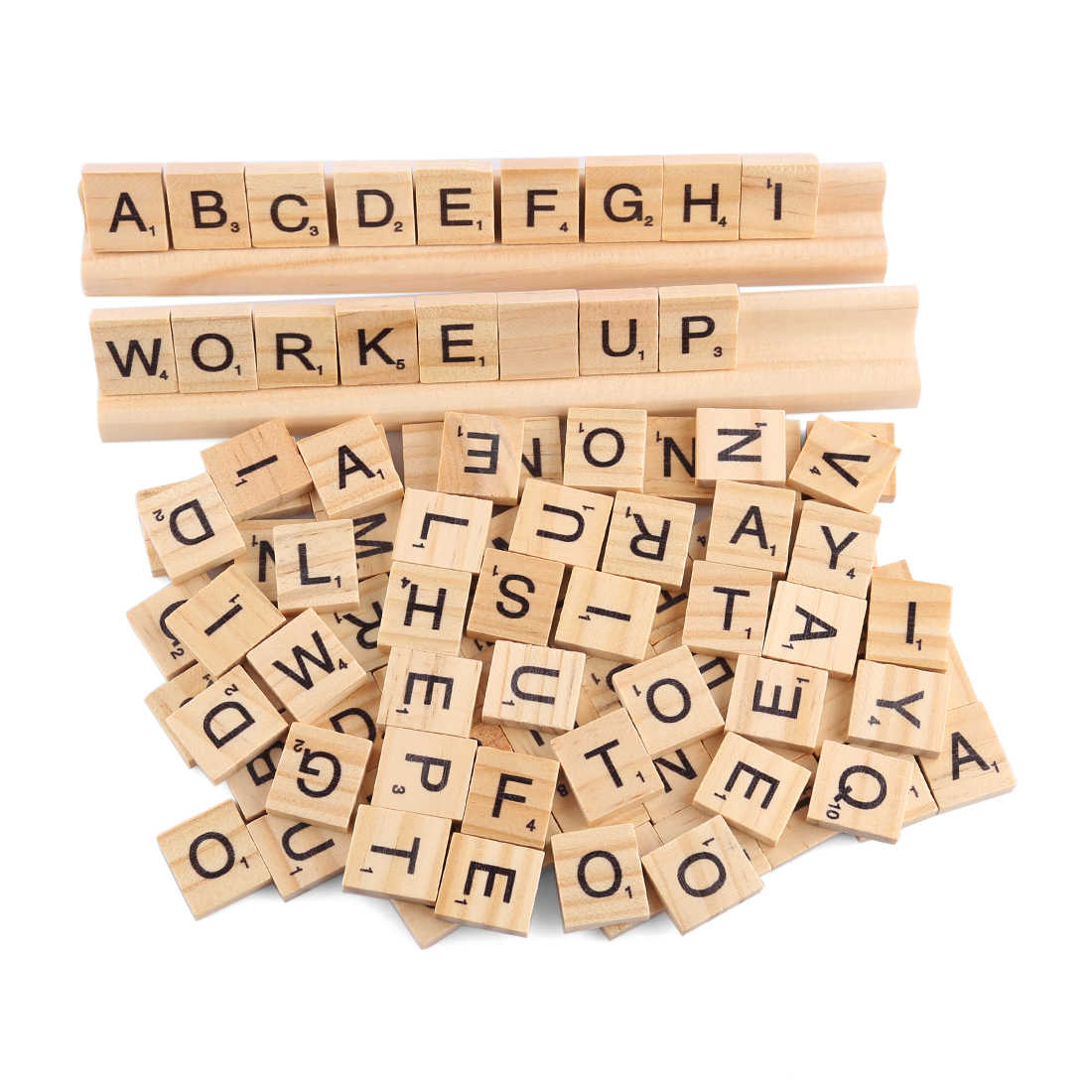 Capital Letter Educational Game Wooden Chip Puzzle Toys with Holder