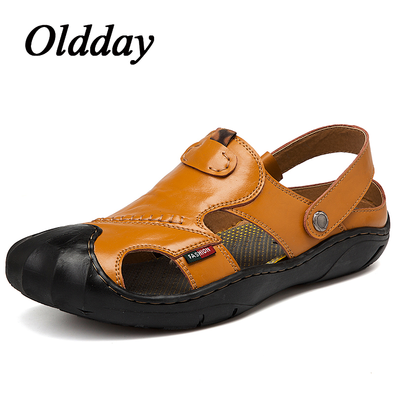 Men Sandals Split Leather Breathable Men Beach Sandals Casual Flat Walking Slippers Summer Shoes Men Fashion Plu Size
