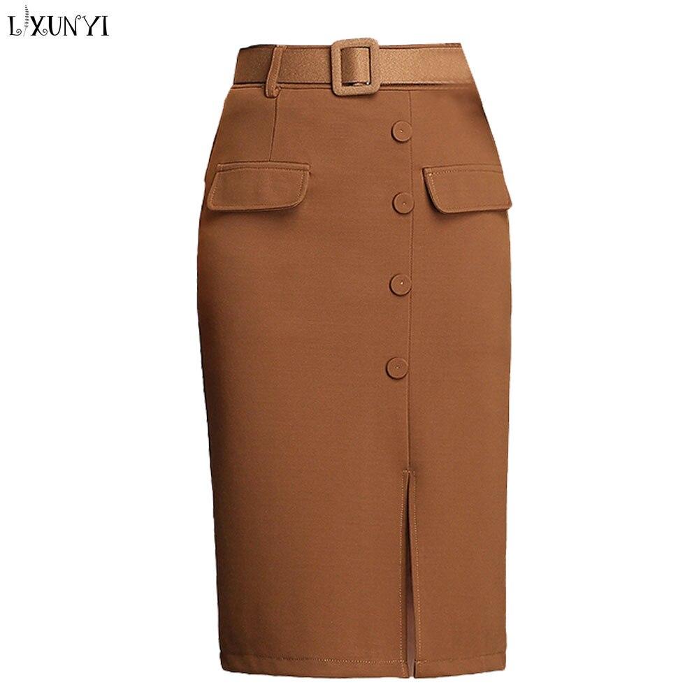 7e1168211ef LXUNYI Summer Pencil Skirt Women High Waist Fashion Plus Size Slim Midi  Office Skirts 2019 Buttons