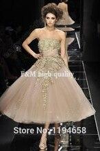 2016 neue Ankunft Couture Abendkleider Gold Spitze Bodenlangen Ballkleid Prom Kleider BO1706