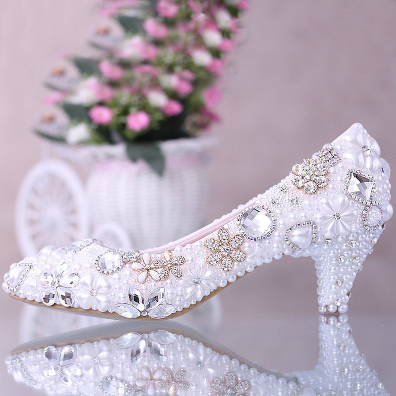 Luxurious Elegant Imitation Pearl Wedding Party Dancing Shoe Bridal Shoes Crystal diamond low-heeled shoes Lady Dress Shoes luxurious elegant ivory pearl wedding party dancing shoes bridal shoes pointed toe kitten heeled shoes woman lady dress shoes