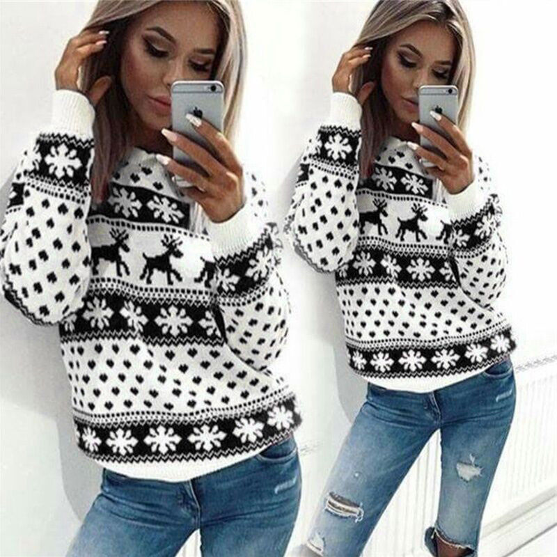 Adroit 2018 Women Lady Jumper Sweater Pullover Tops Coat Christmas Winter Womens Ladies Warm Brief Sweaters Clothing 2 Colour 4 Size Reputation First