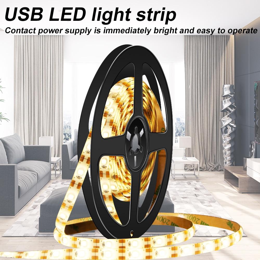 Led Strip Light 5V USB Waterproof Diode Neon Ribbon Flexible Light Tape SMD 2835 Fita Led TV PC Desktop Background Bias Lighting(China)