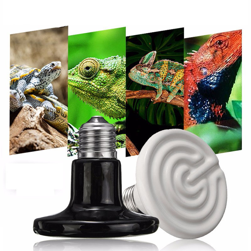 Pet Heating Light Bulb E27 Infrared Ceramic Emitter Heating Lamp Bulb 25-150W 80mm for Reptile Pet Brooder White Black 110/220V 220v 240v reptile aninal ceramic heater pet heating lamp 50w