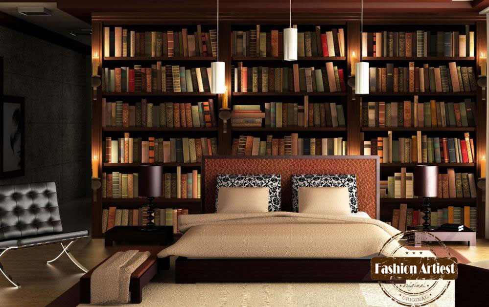 Custom modern 3d wallpaper mural bookshelf bookcase candle tv sofa ...