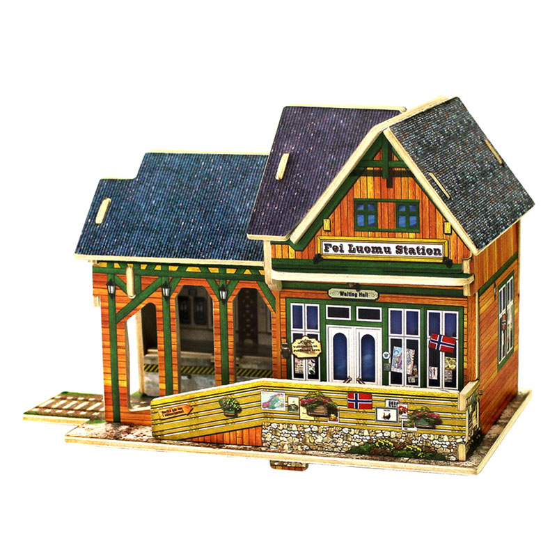 3D Wooden House Models Construction Puzzle Craft DIY Children Fun Building Toy led 3d puzzle toys l503h empire state building models cubicfun diy puzzle 3d toy models handmade paper puzzles for children