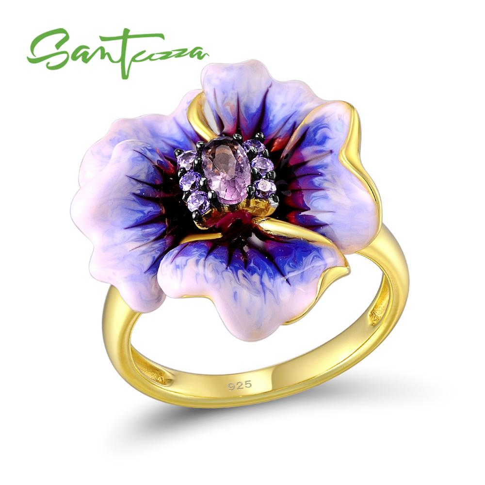 SANTUZZA Silver Ring For Women Genuine 925 Sterling Silver Purple Blooming Flower Glamorous Fashion Jewelry Handmade