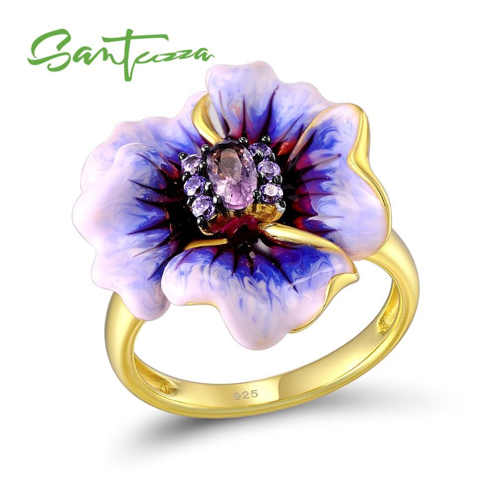 SANTUZZA bague en argent pour les femmes véritable 925 en argent Sterling violet floraison fleur glamour mode bijoux émail à la main