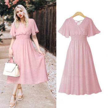 plus size dress white bandage elegant midi pink chiffon black office summer ruffle big vestiti donna v neck tallas grandes mujer 4