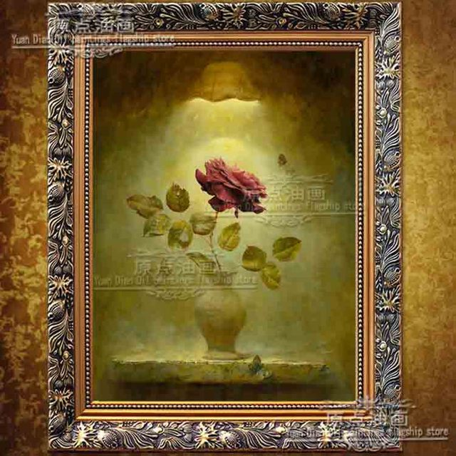 One Piece Beautiful Flowers Red Rose Elegant Picture Painting Oil Painting On Canvas Home Decoration Painting Wall Art  Artwork