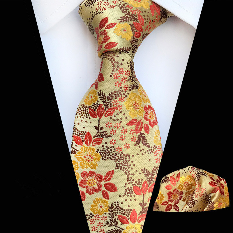 Maple-Leaf Red Polka Dot Check Plaid Floral Silk Jacquard Party Wedding Woven Men Tie Fashion Designers Necktie Handkerchief Set