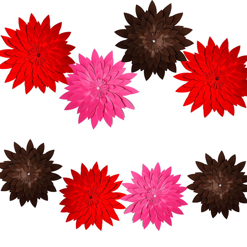 HAOCHU 8Pcs Romantic DIY Red Lovely Paper Flowers Artificial Foral Wedding Party Decoration Supplies Marriage Room Ornaments