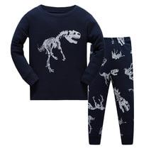 Купить с кэшбэком Print Full Sleeved Cotton Kids Pijamas Children Sleepwear Pajamas Spring Autumn clothes Kids boy 2-7 years old