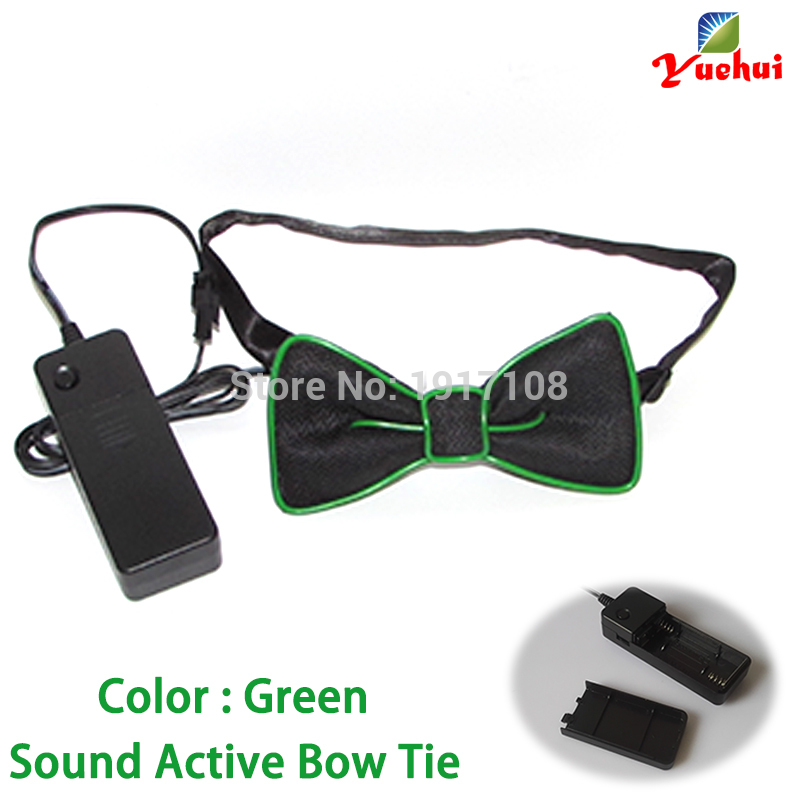 Fashion10 color Luminous Party decor Sound active LED bow tie glowing EL Wire Bow tie For Club,dance,DJ,Wedding Decoration