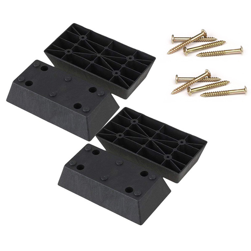 Black Plastic Trapezoid Sofa Couch Furniture Legs Feet Pack Of 4