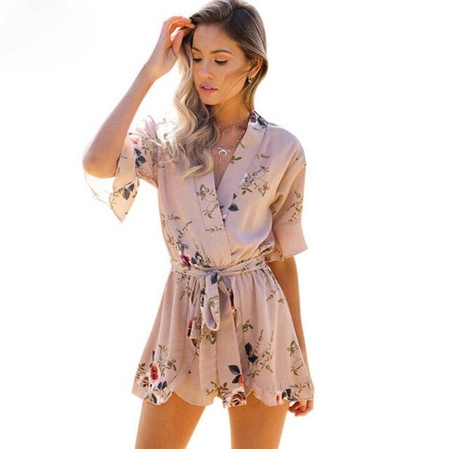89bb9806d43a 2018 boho Floral Print Ruffles plus size Playsuits Womens Elegant summer  sprint V Neck bandage Rompers