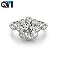 QYI Woman ring 925 silver inlay Simulated diamond wedding women Ring support custom wholesale