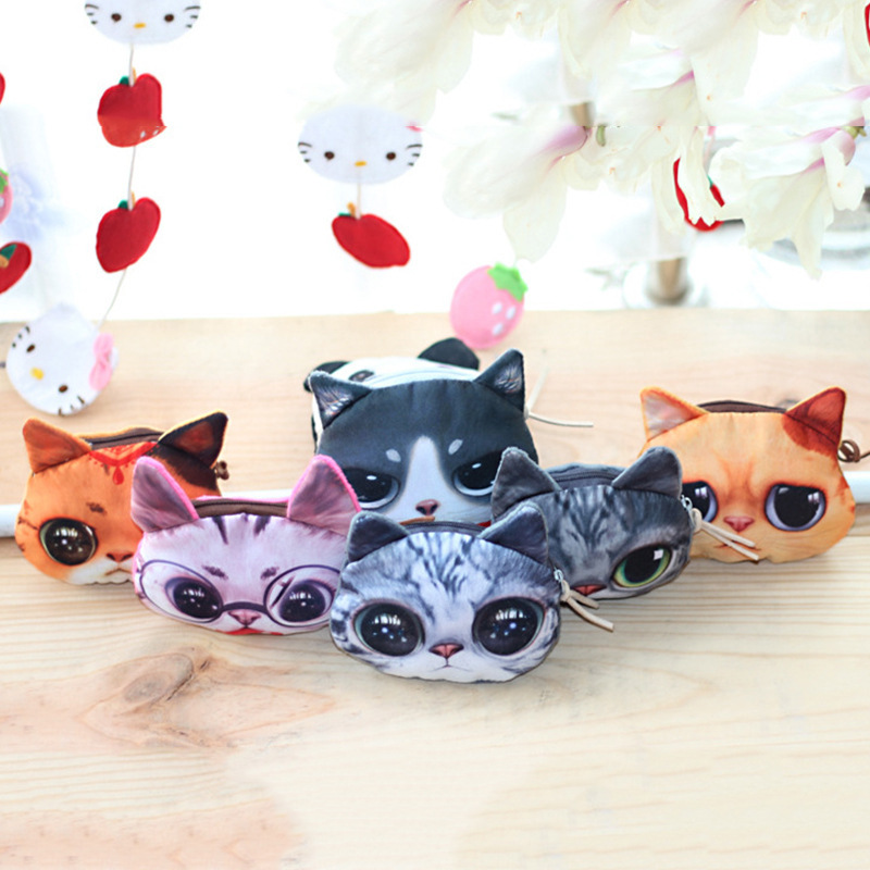 Fashion Women Coin Purses Cute Girl Animal Mini Bag Key Ring Case Zipper Wallet Lovely dog Cat Face Pouch Change Purse wholesale