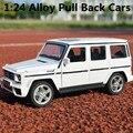 1:24 сплава модели автомобилей, высокая моделирования Benz-G63 модель, металл diecasts, игрушечных автомобилей, вытяните назад и мигает и музыкальные, бесплатная доставка
