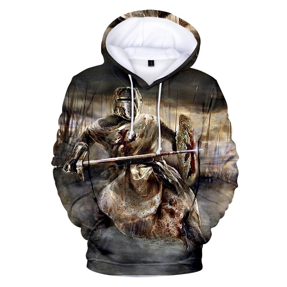 Hoodie models Hip Hop Harajuku knights templar 3D hooded sweatshirt men and women O-neck fashion casual shirt hooded sweatshirt