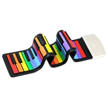TOP!-Color 49 Standard Keys Flexible Kids Piano Keyboard Roll Up Built-In Lithium Battery Completely P