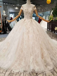 Image 3 - LSS076 fast free shipping wedding gowns off the shoulder sweetheart ball gown flowers wedding dresses with long train real price