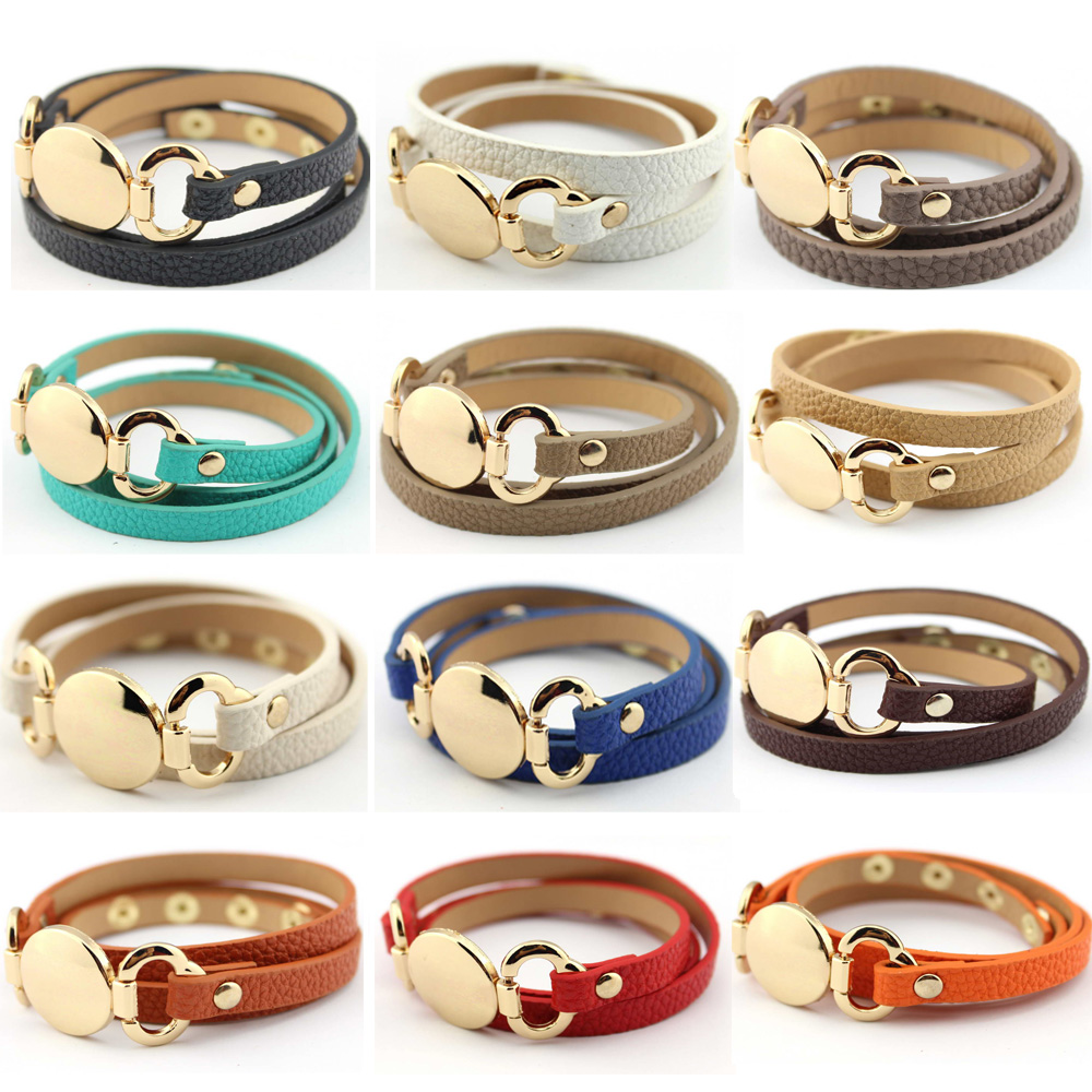 Let It Be Wholesale Gold Blank Disk Multiple Wrap Leather Bracelet Women  Trendy Monogram Genuine Leather