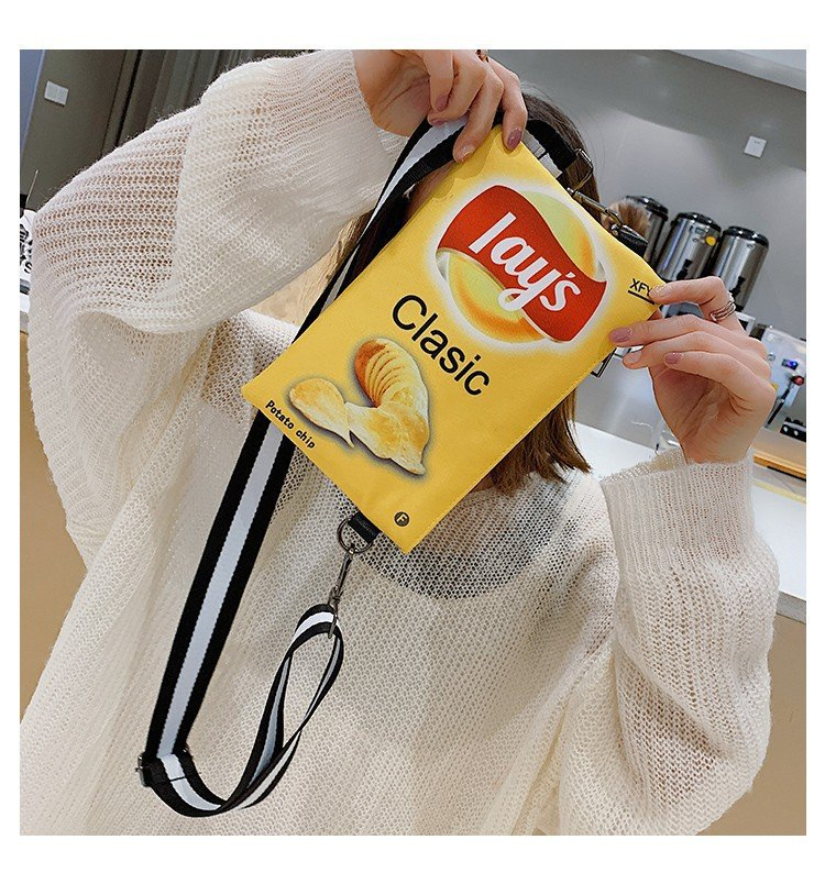 Funny Potato Chips Crossbody Handbag Clutch Bag Small Messenger Shoulder Bag Girls Envelope Bags Party Purse