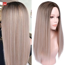 Wignee Long Straight Hair High Density Synthetic Wig For Women Ombre Baby Ash Blonde/Pink/Red/Brown/Blue Natural Female
