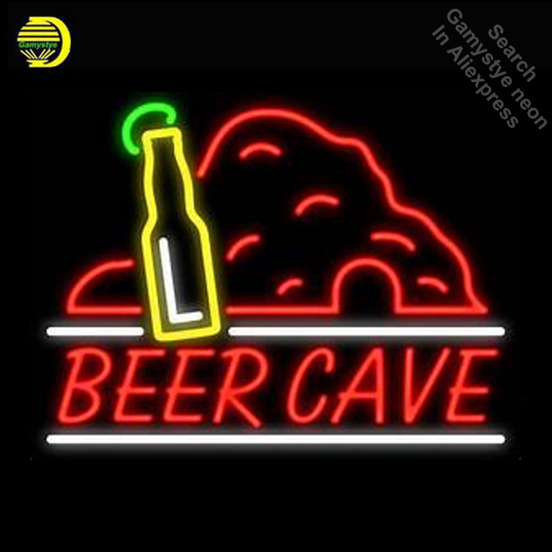 Beer Cave With Bottle Neon Light Sign GLASS Tube Handcraft