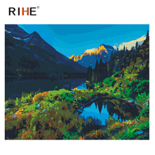 RIHE Mountain Diy Painting By Number Lake Oil On Canvas Hand Painted Forest Cuadros Decoracion Acrylic Paint Home Decor