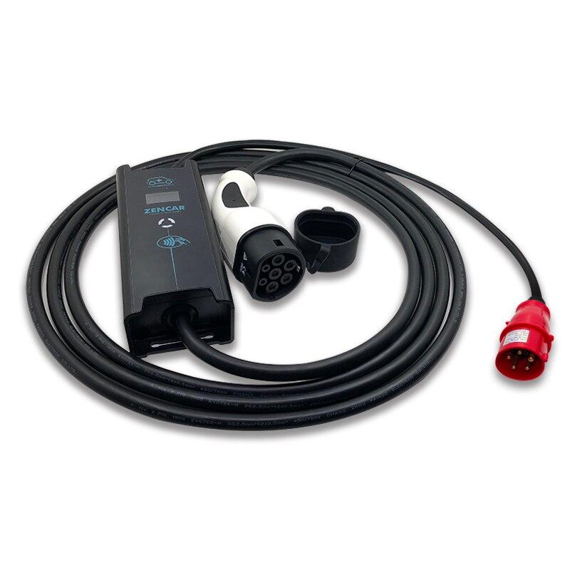 Otomobiller ve Motosikletler'ten Pil Kabloları ve Konnektörleri'de 11kw 3 fazlı elektrikli araba ev şarj seviyesi 2 tip 2 IEC62196 6A 8A 10A 12A 16A ayarlanabilir seviye 2 EVSE için 5M kablo Tesla title=