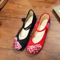 Soft R Sole Women Flower Embroidery Cotton Cloth Shoes Mary Jane Ladies Vintage Chinese Style Beijing Canvas Flats Zapatos Mujer