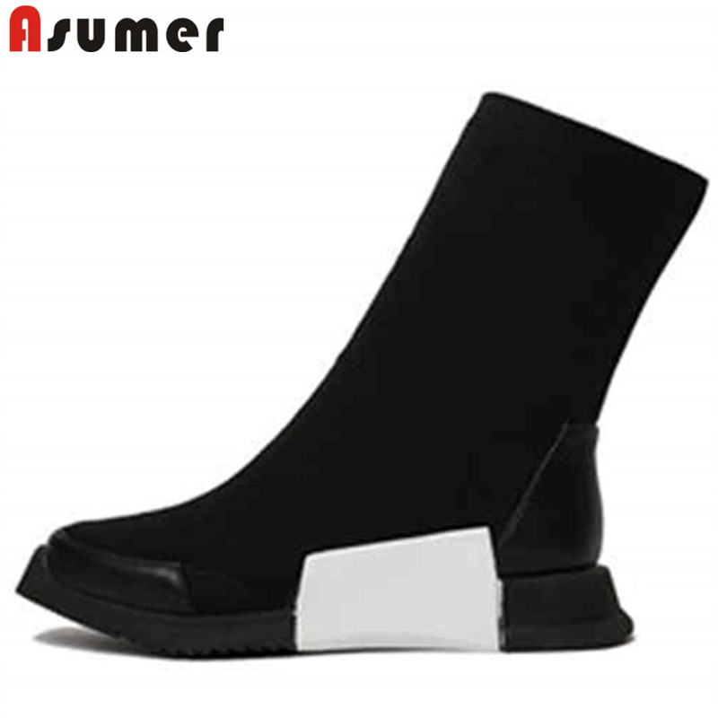 ASUMER black white fashion autumn winter boots women round toe mid calf boots comfortable flat with ladies boots 2018 new winter women boots basic fashion round toe comfortable flat shoes female footwear mid calf warm boots popular wholesale dgt674