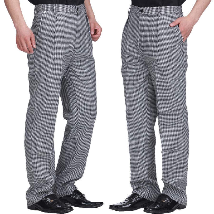 Summer Food Service Free Shipping Autumn Cook Pants Work Pants Checked Black And White Lattice Chef Pants Unisex Chef Trousers