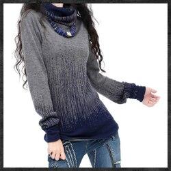 المرأة التدرج الأسود الأزرق Vintage سترة الكشمير المعنقة النساء الشتاء الياقة المدورة سميكة البلوزات و البلوفرات الإناث الدافئة لاعبا