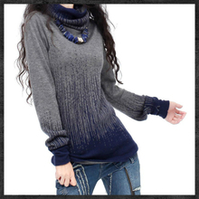 Womens Gradient Black Blue Vintage Cashmere Sweater Women Winter Turtleneck Thick Sweaters And Pullovers Female Warm Jumpers