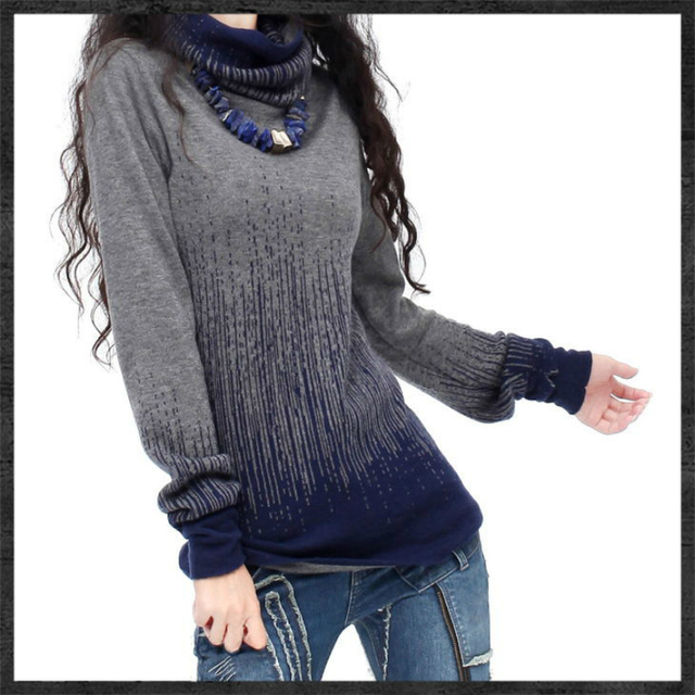 Women's Gradient Black Blue Vintage Cashmere Sweater Women Winter Turtleneck Thick Sweaters And Pullovers Female Warm Jumpers