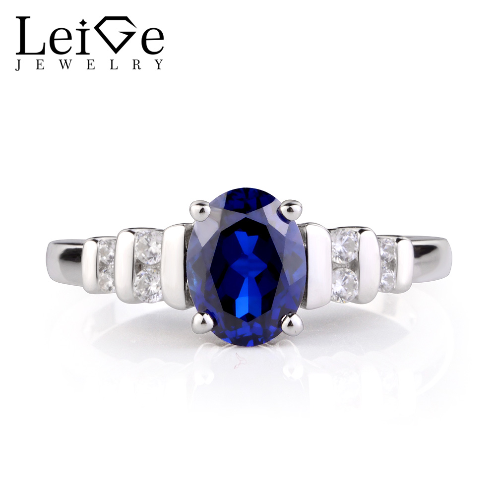 Leige Jewelry Rings Sapphire Sterling Silver 925 Fine Jewelry Blue Gemstone Engagement Anniversary Rings for Women Oval Cut leige jewelry blue sapphire ring oval shaped wedding engagement rings for women sterling silver 925 jewelry blue gemstone