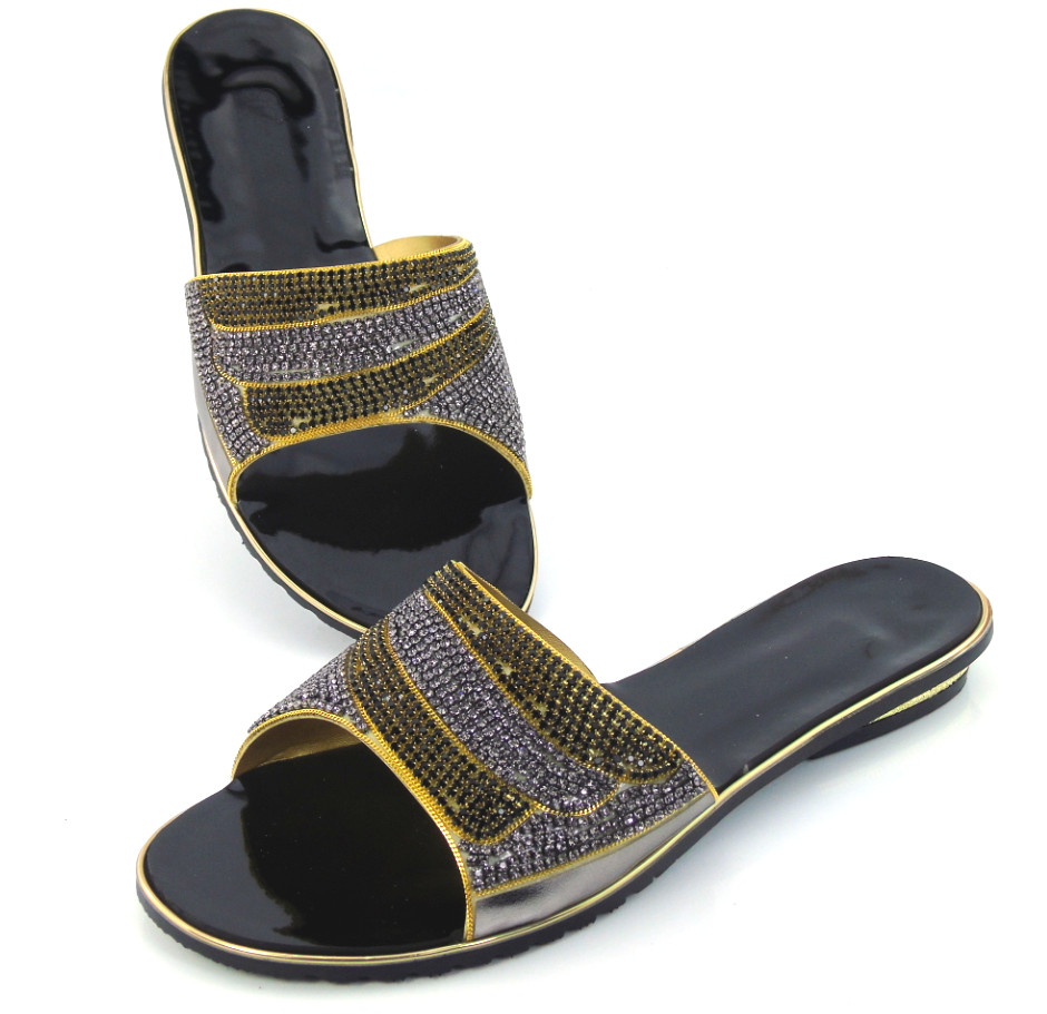 doershow High quality high heel pu leather slippers African sandal shoesfor lady ,multi color on sale Dinner party shoes DD1-56