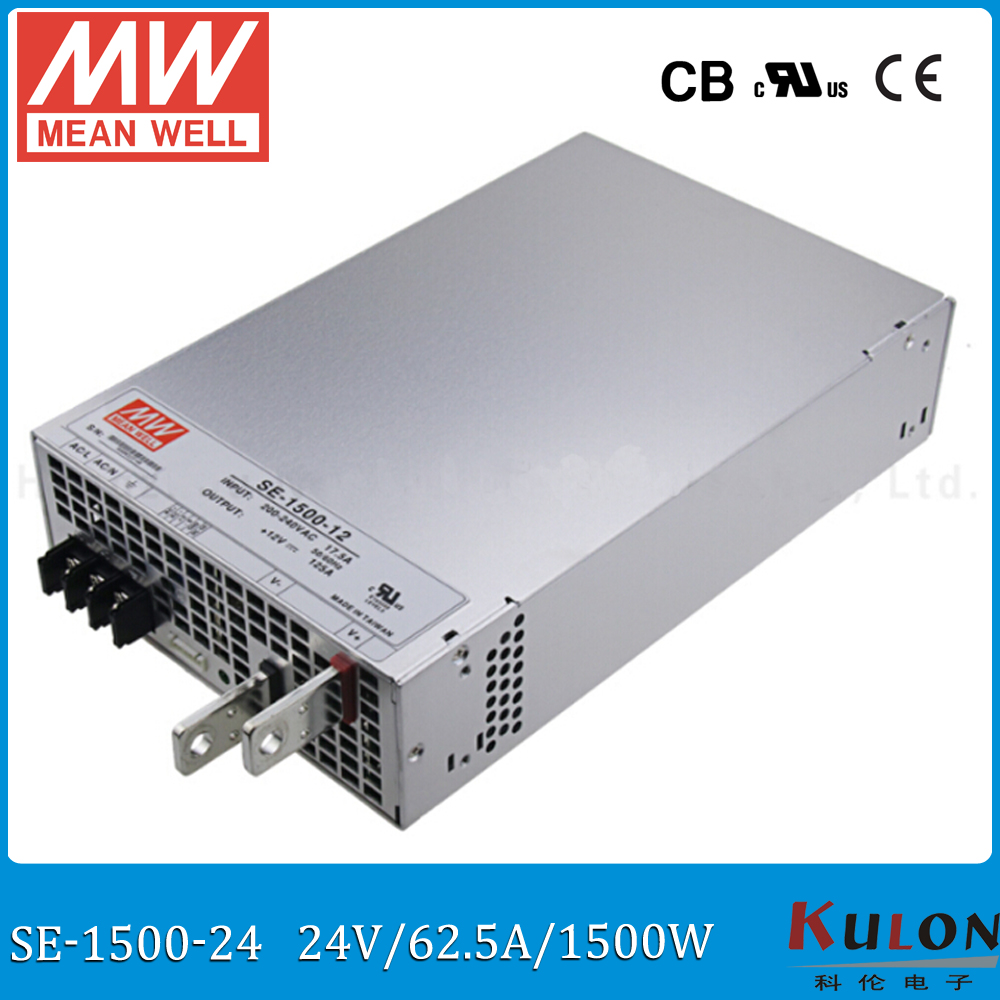 Original Meanwell 1500W 62.5A 24V Power Supply SE-1500-24 AC to DC 24V MEAN WELL switch mode Power supply PSU 24V meanwell 24v 75w ul certificated nes series switching power supply 85 264v ac to 24v dc