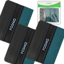 FOSHIO 3pcs Car Vinyl Wrapping Squeegee Carbon Fiber Film Wrap Pasting Scraper No Scratch Suede Felt Cloth Window Tinting Tool