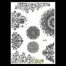 1 Sheet Large Henna Black Personalizer Hand Jewel Elegant Flower Lace BJ043 Classic Totem Bridal Indian Temporary Tattoo Sticker