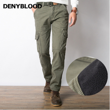 Denyblood 2017 New Winter Men's Casual Pants Baggy Pants Thick Solid Straight Jeans