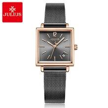 Auto data stal nierdzewna prosty damski zegarek japonia Quartz godziny moda elegancki zegar bransoletka dziewczyny prezent urodzinowy Julius Box