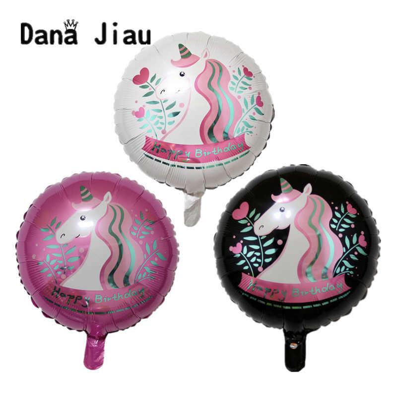 Dana Jiau 1 pc Arco Iris unicornio globo de papel de aluminio decoraciones de fiesta de cumpleaños de los niños globos suministros de la boda ducha de bebé juguetes