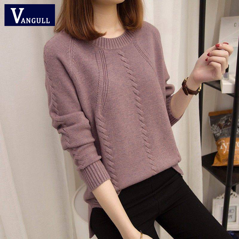 VANGULL Pullover Women's Sweaters Autumn Winter O-neck Long-sleeved Short Paragraph Bottoming Shirt Women's Version Of The Loose