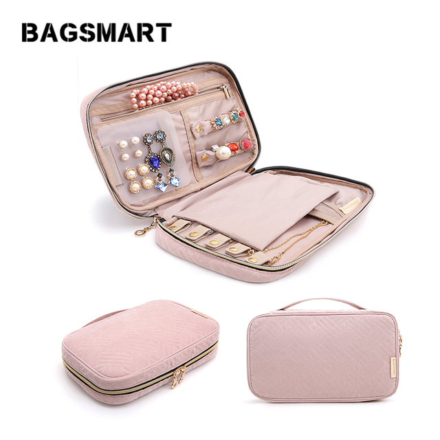 BAGSMART Women Travel Jewelry Organizer Case Female Cosmetics Bags Jewelry Pouch Bag for Necklace Bracelet Earring Ring Watch