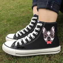 Wen Original Design Cute French Bulldog Head Black Adult High Top Sneakers Women White Canvas Skateboard Shoes Men Plimsolls