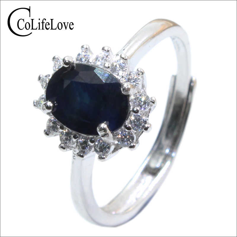 Real sapphire silver ring 6 mm * 8 mm natural black sapphire ring for lady solid 925 sterling silver sapphire ring romantic gift